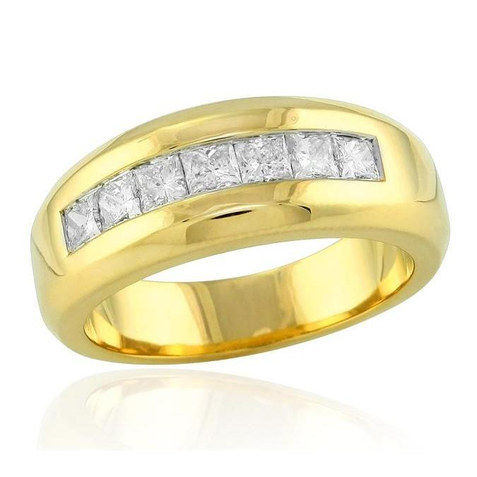 14K Yellow Gold 1.00 Ct  Princess Cut Diamond Mens Band Jewelry New Mens Ring