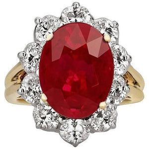 14K Yellow Gold 3.50 Ct Brilliant Cut Ruby With Diamonds Ring New Gemstone Ring