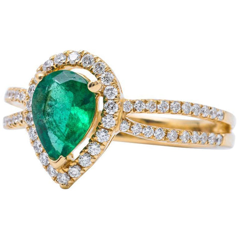 14K Yellow Gold 5 Ct Pear Cut Emerald Gemstone Diamond Wedding Ring Gemstone Ring