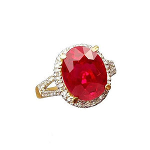 14K Yellow Gold 6.5 Carats Ruby And Diamond Ring Fine Jewelry Gemstone Ring