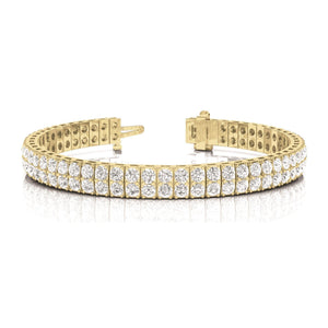 14K Yellow11.20 Carats Round Cut Double Row Diamonds Bracelet New Tennis Bracelet