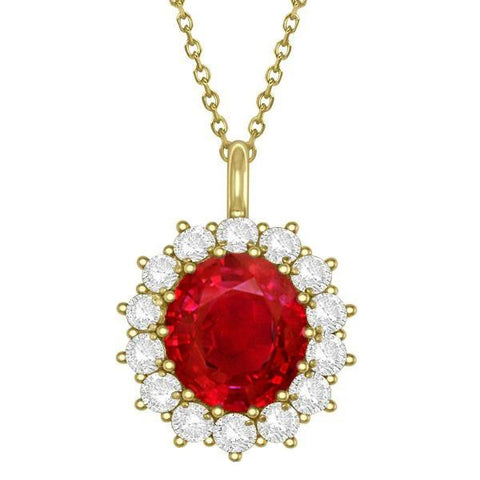 14K Yg Ruby And Diamonds 8.40 Carats Pendant Necklace With Chain Gemstone Pendant