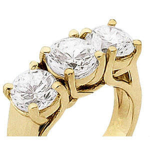 1.5 Carat Engagement Ring 3 Stone Diamond Ring Solid Yellow Gold 18K Three Stone Ring