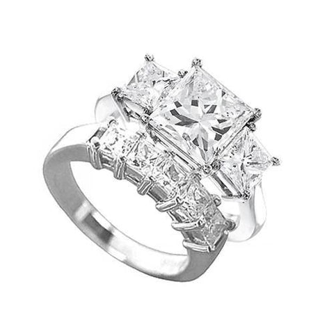 1.5 Carat Princess Cut 5 Stone Diamond Engagement Ring Set 18K White Gold Engagement Ring Set