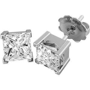 1.5 Carat Princess Cut Diamond Stud Earring White Solid Gold 14K Stud Earrings