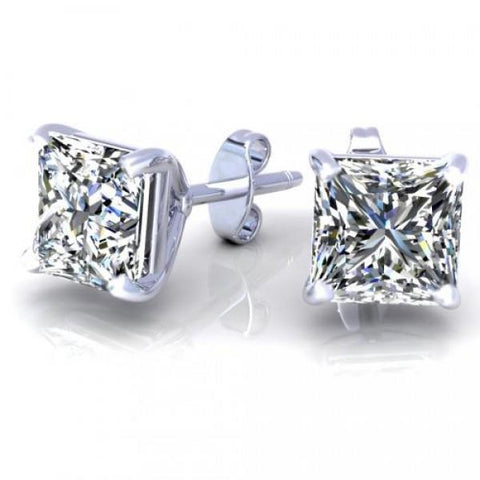 1.5 Carat Princess Cut Stud Diamond Earring White Gold 14K Stud Earrings