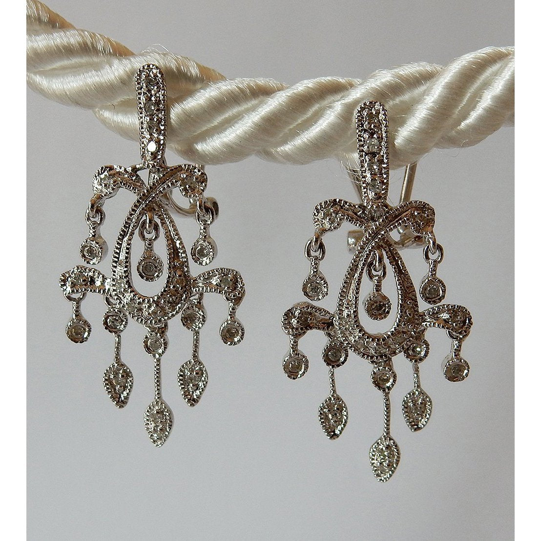 1.5 Carats Diamond Chandelier Earrings White Gold Chandelier Earring
