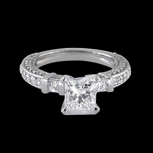 1.5 Carats Princess Diamonds Engagement Ring Gold Jewelry Three Stone Three Stone Ring