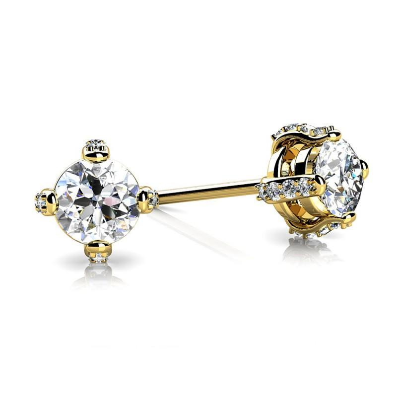 1.5 Carats Prong Set Diamond Stud Earring Yellow Gold 14K Stud Earrings
