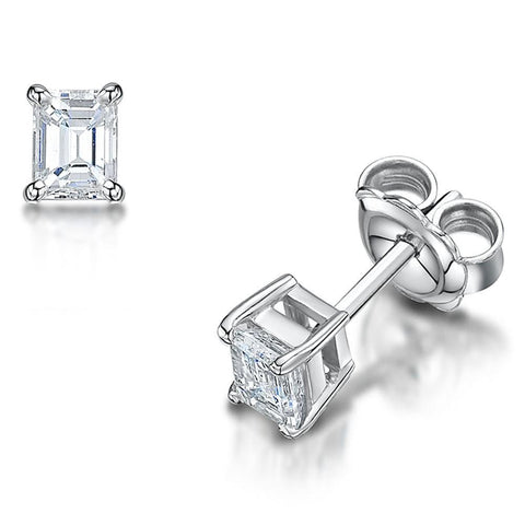 1.5 Carats Prong Set Emerald Cut Diamond Studs Earring Gold Jewelry Stud Earrings