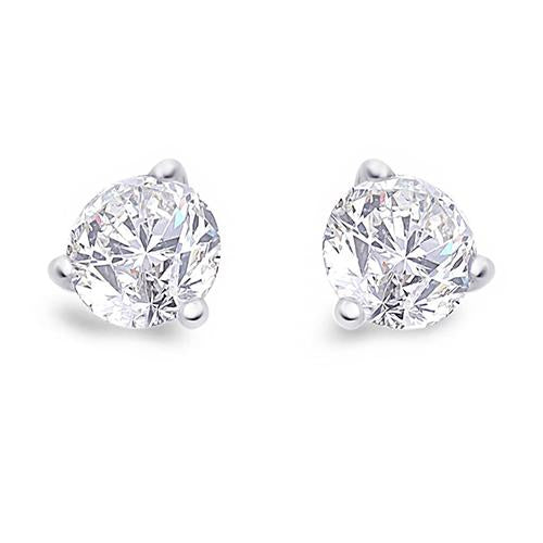 1.5 Carats Round Solitaire Diamond Stud Earring White Gold Prong Set Stud Earrings