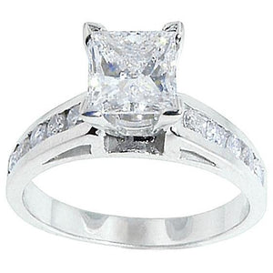1.5 Ct. Diamond Antique Look Gold A Ring Solid White Gold 18K Solitaire With Accent Solitaire Ring with Accents