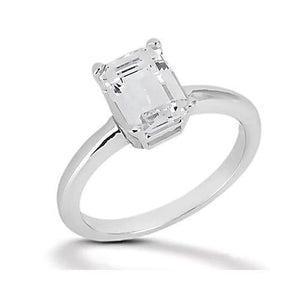 1.5 Ct. Diamond Band Emerald Cut Diamond Solitaire Ring Solitaire Ring