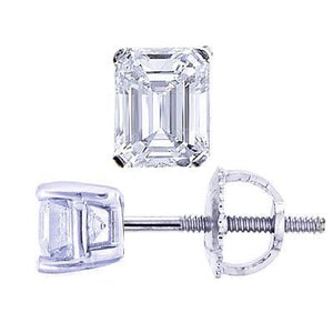 1.5 Ct Emerald Cut Diamond Stud Earring Women White Gold Fine Jewelry Stud Earrings