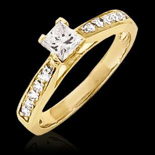 1.5 Ct Genuine Diamond Ring Princess Cut Jewelry Solitaire Ring with Accents