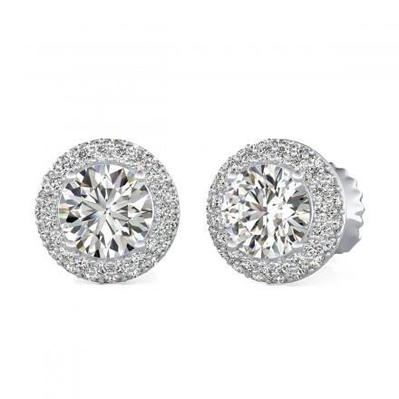 1.5 Ct Halo Round Cut Diamond Stud Earring 14K White Gold Halo Stud Earrings