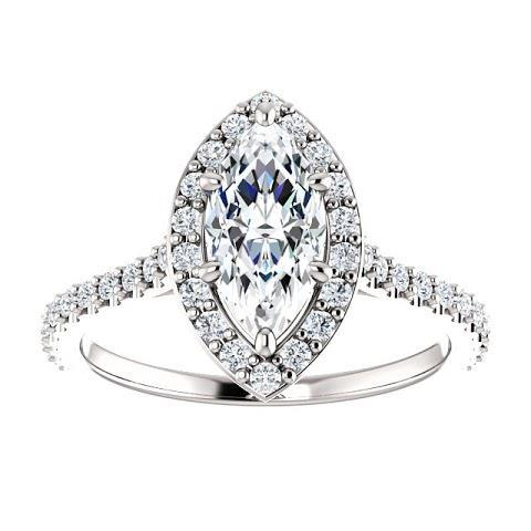 1.5 Ct Marquise Solitaire With Accents Halo Diamond Ring Halo Ring