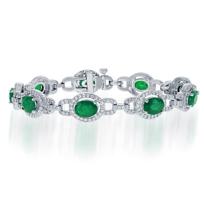 15 Ct Oval Cut Green Emerald With Diamond Bracelet Gemstone Bracelet