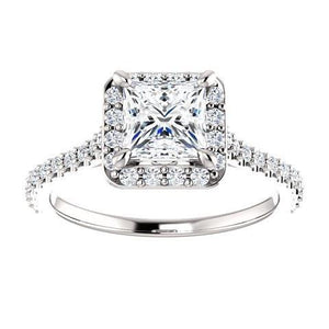 1.5 Ct Princess Solitaire With Accents Halo Diamond Wedding Ring Halo Ring