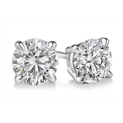 1.5 Ct. Prong Set Round Diamond Stud Earring Solid White Gold 14K Stud Earrings