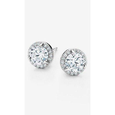 1.5 Ct Round Halo Diamond Stud Earring 14K White Gold Halo Stud Earrings