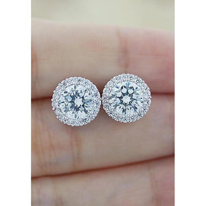 1.5 Ct Round Halo Diamond Stud Earring Lady Jewelry Halo Stud Earrings