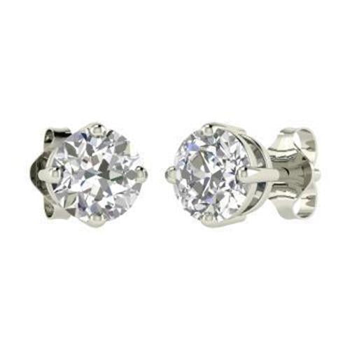 1.5 Ct Solitaire Round Brilliant Diamond Stud Earring 14K White Gold Stud Earrings
