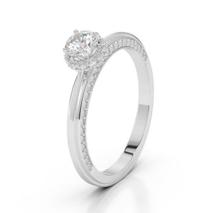 1.5 Ct Solitaire With Accent Diamond Engagement Ring White Gold Solitaire Ring with Accents