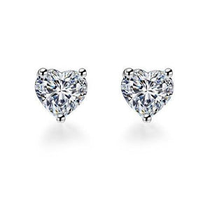 1.5 Ct Three Prong Set Heart Cut Diamond Stud Earrings Stud Earrings