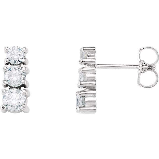 1.5 Ct Three-Stone Diamond Stud Earrings 14K White Gold Stud Earrings