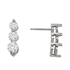 1.50 Carat Diamonds Journey Earrings Drop Post Earring White Gold Drop Earrings