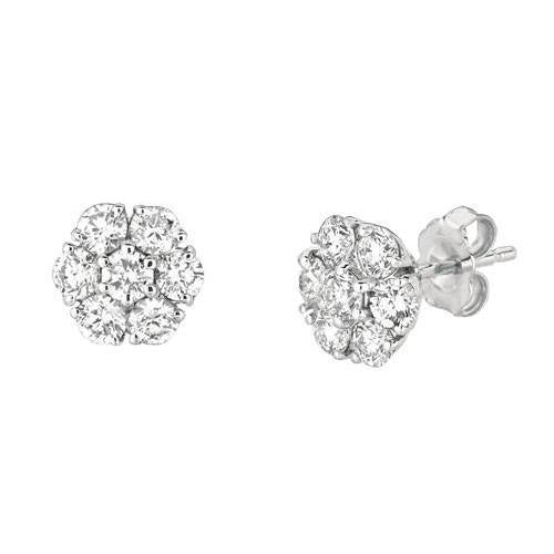 1.50 Carat Diamonds Stud Earrings White Gold 14K Flower Style Earring New Stud Earrings