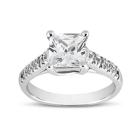 1.50 Carat Princess & Round Diamond Solitaire Ring With Accents White Gold 14K Solitaire Ring with Accents