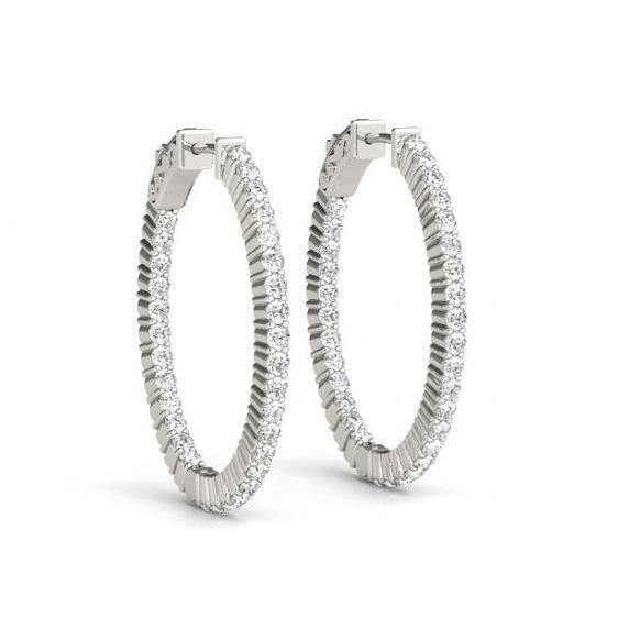 1.50 Carat Round Brilliant Diamonds Hoop Earrings White Gold 14K New Hoop Earrings