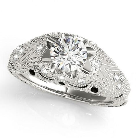 1.50 Carats Diamond Engagement Ring Engraved Solid White Gold 14K Engagement Ring