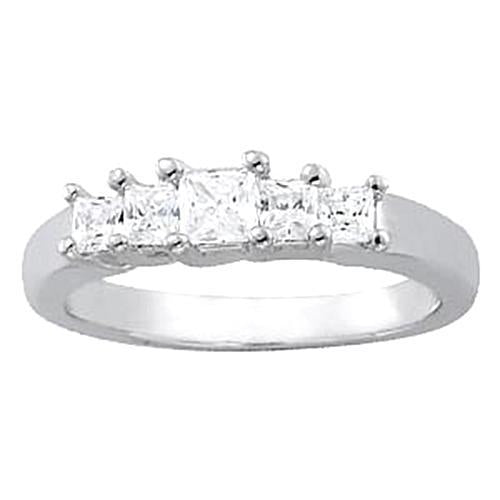 1.50 Carats Diamond Engagement Ring Princess White Gold 14K Band