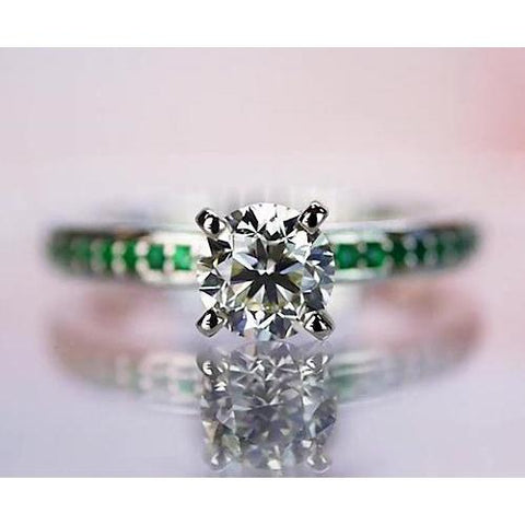 1.50 Carats Diamond Round Green Emerald Ring White Gold 14K Solitaire Ring with Accents
