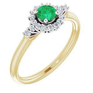 1.50 Carats Diamond Round Green Emerald Ring Gemstone Ring