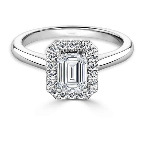 1.50 Carats Emerald Cut Diamonds Ring 14K Gold White Ring