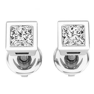 1.50 Carats Princess Cut Diamond Studs Earrings White Gold 14K Stud Earrings