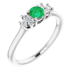 1.50 Carats Ring Solitaire Round Green Emerald Stone Gemstone Ring