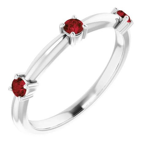 1.50 Carats Ring Three Stone Ruby White Gold 14K Gemstone Ring