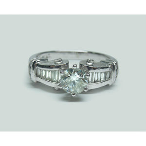 1.50 Carats Round And Baguette Diamond Engagement Ring Engagement Ring