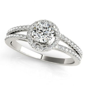 1.50 Carats Round Brilliant Diamonds White Gold 14K Engagement Halo Ring Halo Ring