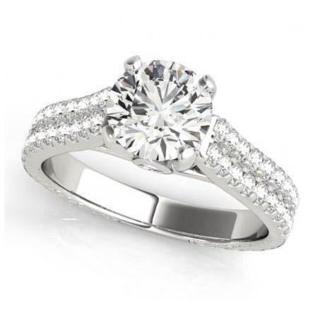 1.50 Carats Round Brilliant Diamonds White Gold 14K Fancy Ring Solitaire With Accents Solitaire Ring with Accents