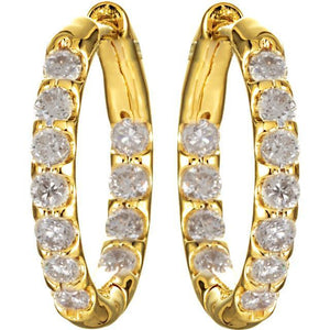 1.50 Carats Round Diamond Inside/Outside Hoop Earrings Hoop Earrings