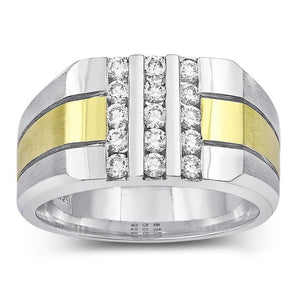 1.50 Carats Round Diamond Mens' Fancy Ring Two Tone Gold 14K Mens Ring
