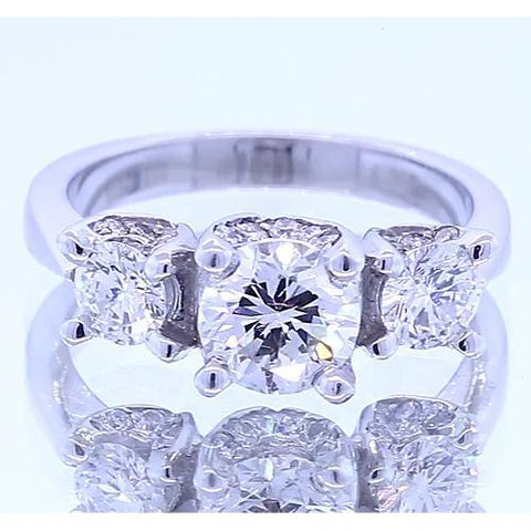 1.50 Carats Three Stone Engagement Ring 4 Prong Set Jewelry Three Stone Ring