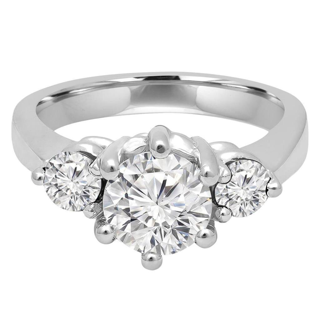 1.50 Carats Three Stone Round Cut Diamond Ring 14K White Gold Three Stone Ring
