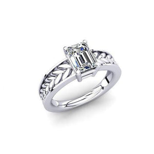 1.50 Ct Solitaire Emerald Cut Diamond Engagement Ring Gold White 14K Solitaire Ring